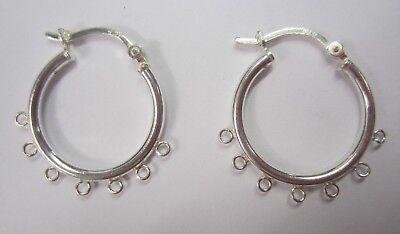 20mm 925 Sterling Silver 7 Ring Hinged Hoop Earrings Findings Multi Strand