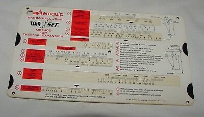 AEROQUIP BARCO BALL JOINT OFF SET METHOD THERMAL EXPANSION SLIDE RULE CHART