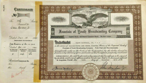 Fountain of Youth Broadcasting Company  > 1943 St. Augustine Florida certificate