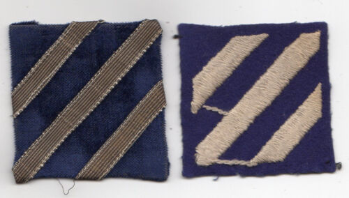 WWI WWII Era Genuine Original War Patch Lot of 2 Varieties - 3rd Infantry Div