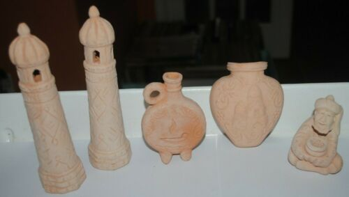 Small vintage terracotta figurines, LOT OF 5, mosques, lamp, pitcher, man