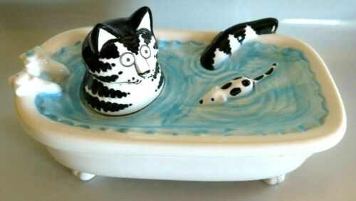 VTG CERAMIC B KLIBAN CAT IN BATH TUB  w/ MOUSE TRINKET DISH, SIGMA TASTESETTER