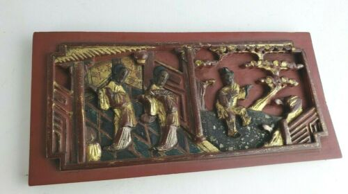 Great old chinese carved wood gilted panel