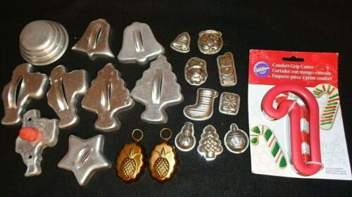 LOT Vintage Aluminum Metal Cookie Cutters & Candy Molds & copper molds
