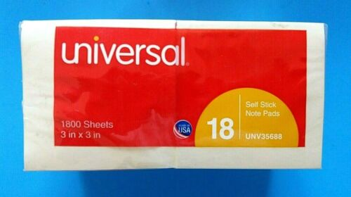 UNIVERSAL  3X3  STICKY NOTES, 18 PADS.. 1800 SHEETS, NEW- SEALED.