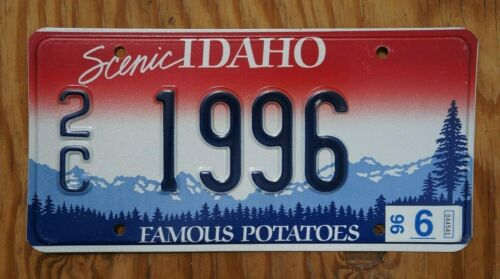 1996 Idaho License Plate # 1996 - With Registration