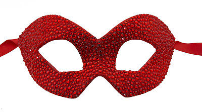 Mask from Venice Colombine Red Swarovski Rhinestone Luxury Paper Mache 22378