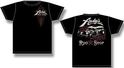 - ANDY'S ROD SHOP LOGO FRONT RAT ROD BACK BLACK TEE SHIRT LOGO FRONT RAT ROD BACK