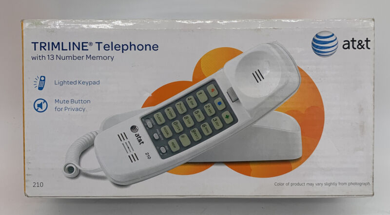 AT&T Corded TrimLine Phone 210, White, Lighted Keypad, Number Memory New