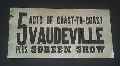Vintage 1900's Vaudeville 5 Acts Poster Midgets Performers Side Show Advertising