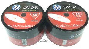 HP DVD-R 16X 4.7GB 120MIn Inkjet Hub White Printable 100pack In Plastic Wrap