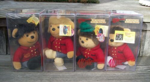The Monkees LE Collectible Plush Rare Bears Set of 4 Mickey Mike Peter Davy 1999