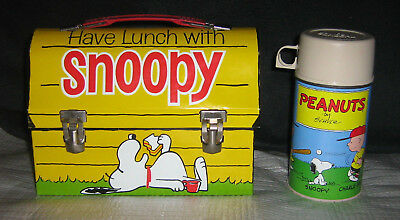 Vintage Peanuts Have Lunch with Snoopy Dome Metal Lunch Box & Thermos NICE 1968 - Metal Lunchbox