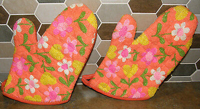 Vintage Kitsch MCM Pair of Bright Orange Pink Yellow Daisy Oven Mitt Pot Holders