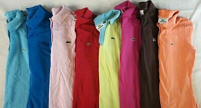 LACOSTE Lot of 8 Women's Short Sleeve Cotton Polo Shirts Sz 36 / US 4 S