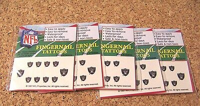 5 sets Oakland Raiders Fingernail Tattoos temporary also for skin all 10 fingers](Raiders Tattoos)