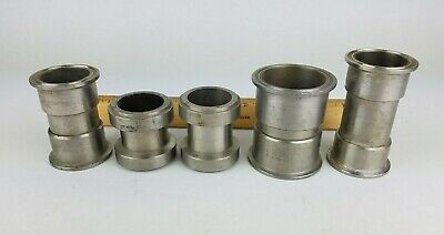 5x Stainless Steel S304 Sanitary Tri Clamp Type Fitting 2 Spool Connector Joint
