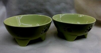 "SET OF 2 FOOTED DOG BOWLS 7"" WIDE IN YELLOW GREEN WITH PAWS & BONE DECORATIONS"
