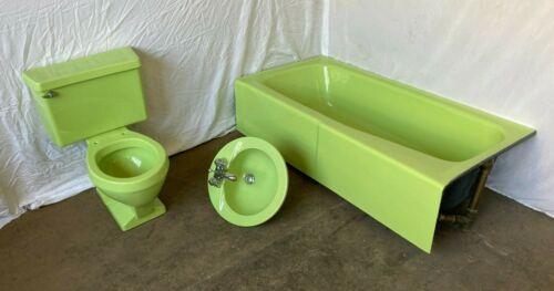 Vtg Retro Lime Green Complete Bathroom Set Old Tub Sink Toilet Old Eljer 59-21E