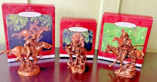 """3 Hallmark Keepsake Christmas Tree Ornaments """"Old West Series"""" - Duane Unruh"""