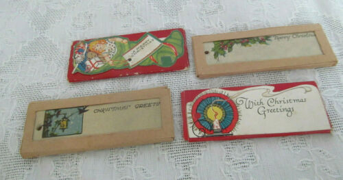 4pkgs~Unused Vintage Christmas Gift Tags~Stocking w/Doll Toys~Holly~Embossed