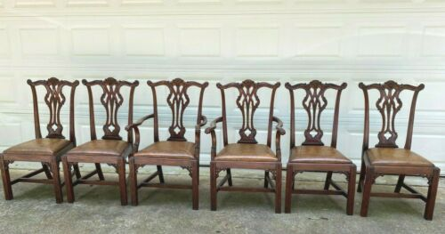 Set 6 Chippendale Dining Room Chairs Leather Seat Straight Leg Decor Furniture