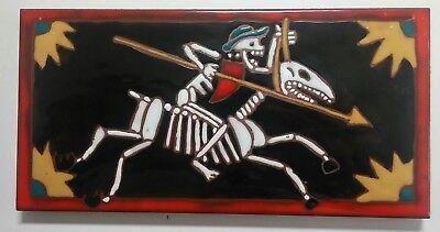 Skeleton on Horse Art Tile Elaine Cain Day of the Dead Signed 8X4 Halloween  ()