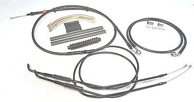 "Extended Cable Brake Line Wiring Kit 16"" Ape Hanger Bars 98-05 Harley DYNA FXD"