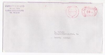 1982 LUXEMBOURG Meter Mail Cover COMMERCIAL Euroteam Ltd to WITTEN GERMANY