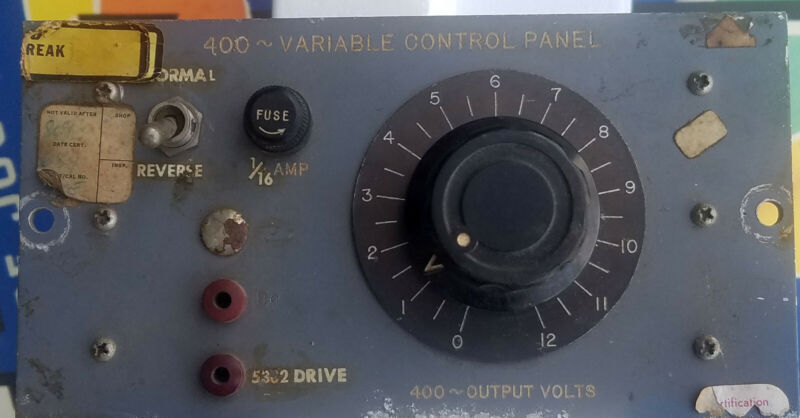VARIAC TYPE W2 VARIABLE with TRANSFORMER in Control panel