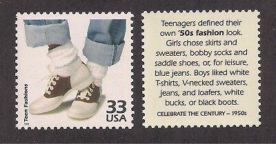 1950's FASHION - BOBBY SOCKS & SADDLE SHOES - U.S. POSTAGE STAMP -MINT - 1950s Saddle Shoes