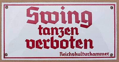 SWING tanzen verboten - Emailschild Email Emaille Schild 20x10cm groß