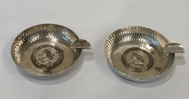 Silver Plate BRAZIL 1907 Coin Face Ashtrays (set of 2)