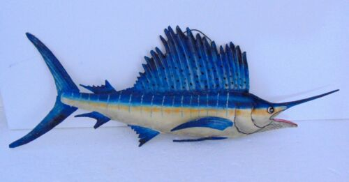 "Vintage Metal 25"" Sword Fish Wall Hanging! Colorful Hand Made Art Marlin"