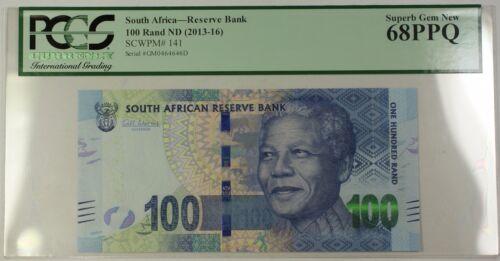 (2013-16) ND South Africa Mandela 100 Rand Note SCWPM#141 PCGS Superb Gem 68 PPQ