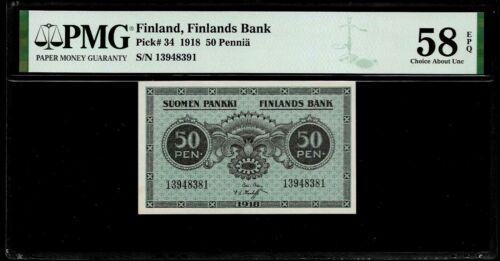 Finland 50 Pennia 1918 PMG 58 EPQ P#34 PMG Population 1/0 Finlands Bank