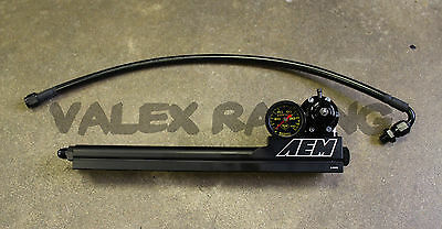 AEM B Series Fuel Rail / Regulator / Black Fuel Line / Gauge Combo Package