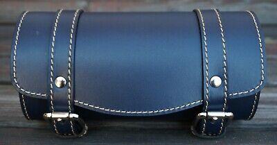 Front Leather Top Case Tool Roll Handlebar Bag Vespa Sprint Primavera 946, BLUE