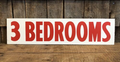 Vintage 60s/70s Double Sided Painted Composition 3 BEDROOMS House Estate Sign