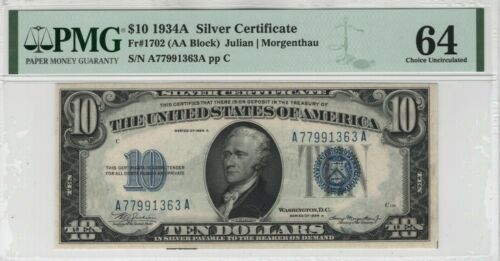 1934 A $10 Silver Certificate Note Currency Fr.1702 AA Block PMG Choice Unc 64