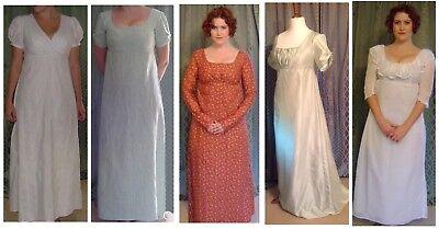 Jane Austen Regency Fine Cotton Muslin Dress, Made To Measure, Colour Options