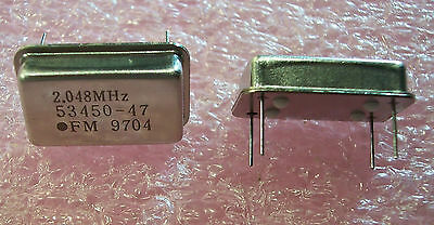 Qty 10 2.048 Mhz Crystal Oscillators Full Size 53450-47-2.048mhz Fm Nos