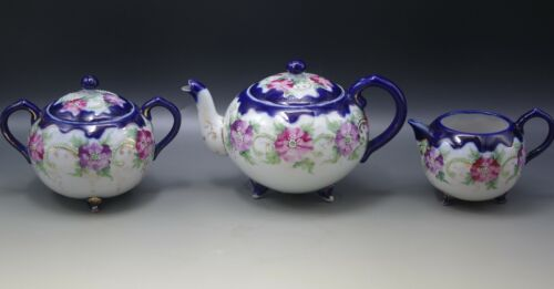 NIPPON PORCELAIN COBALT MORIAGE FLOWERS TEA SET TEAPOT SUGAR BOWL AND CREAMER
