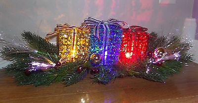 Christmas Decor Lighted Fiber Optic Glitter Gift Box Table Centerpiece or Mantle