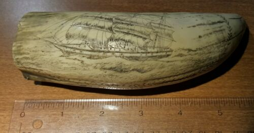 Scrimshaw Whale Tooth Detailed Scrimshaw Art The Cultivator Ship Reproduction