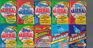 1984 1985 1986 1987 1988 1989 90 1991 1992 1993 Topps Wax Pack Lot From Box Case