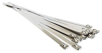 Stainless Steel Cable Ties Self Locking Heavy Duty Zip Ties 150lb Test - Qty 10