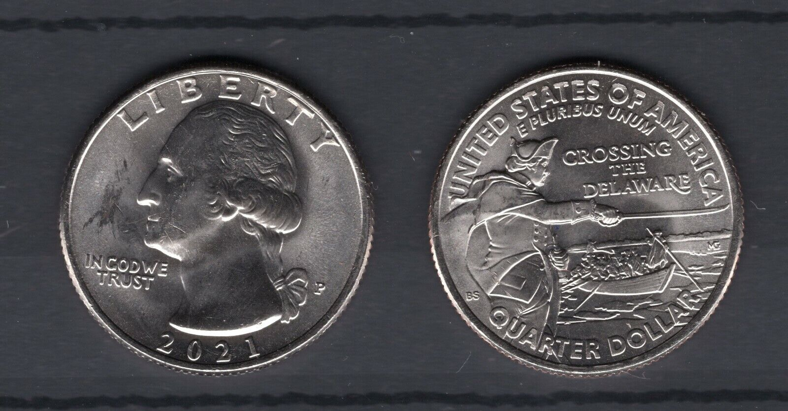 USA 2021 WASHINGTON CROSSING THE DELAWARE QUARTER wahlweise in  D oder P
