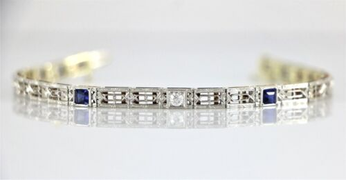 "Vintage Estate Filigree Art Deco 14K Gold Platinum Sapphire Diamond Bracelet 7"""