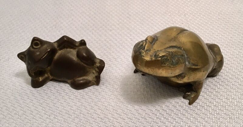 Lot Of 2 Brass Frogs